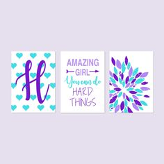 Tween Girl Room Decor, Inspiring Quotes for Girls Decor, Amazing Girl You Can Do Hard Things, Girl Bedroom Decor, Set of 3 Prints or Canvas Girl Room, Girls Bedroom, Bedroom Decor, Be Your Own Kind Of Beautiful, Girl Decor, Tween Girls, Girl Quotes, Inspiring Quotes, Order Prints