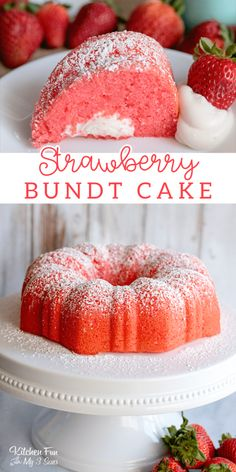 This Strawberry Bundt Cake is filled with a yummy vanilla, marshmallow filling! It's moist, creamy and full of delicious strawberry flavor. This Strawberry Bundt Cake is filled with a yummy vanilla, marshmallow filling! It's moist, creamy and Strawberry Desserts, Köstliche Desserts, Desserts To Make, Delicious Desserts, Yummy Food, Strawberry Filling For Cake, Strawberry Bundt Cake Recipe, Food Cakes, Cupcake Cakes