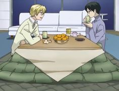 Tamaki Suoh and Kyoya Ootori sitting under a Katotsu- Ouran High School Host Club