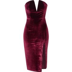Burgundy Velvet Bandeau Bodycon Dress (€32) ❤ liked on Polyvore featuring dresses, burgundy, strapless dresses, bodycon midi dress, bodycon dress, velvet dress and purple dress