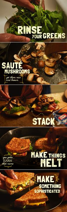 Sophisticated doesn't mean difficult… Mark our words this Bacon Mushroom Melt is just as easy as it is DELICIOUS. Sandwiches For Lunch, Soup And Sandwich, Wrap Sandwiches, Bacon Mushroom, Bacon Stuffed Mushrooms, I Love Food, Good Food, Yummy Food, Cooking Recipes