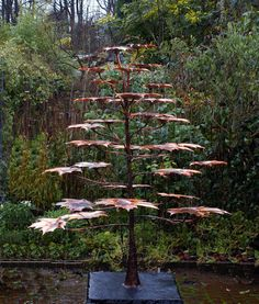 Norway Maple copper water sculpture by Metallic Garden. Water sculpture idea is pretty cool for outdoor garden art; could do with painted/sealed tiles. could we find leaf shaped tiles? Water Sculpture, Outdoor Sculpture, Tree Sculpture, Garden Sculptures, Wind Sculptures, Outdoor Water Features, Metal Tree Wall Art, Metal Art, Country House Design