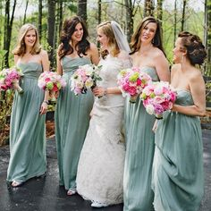 Long formal light sage bridesmaid dresses //  Jasmine Star Photography // http://www.theknot.com/weddings/album/a-charming-southern-wedding-in-blowing-rock-nc-148386