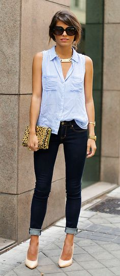 half tucked button-up, cuffed skinny jeans and pumps