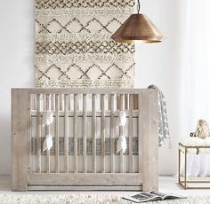 RH Baby & Child's Moroccan Wedding Blanket Tapestry:Thought to bring good luck to newlyweds, Moroccan wedding blankets – or handira – are traditionally woven and detailed with unique embellishments. Our version's simple geometry and muted palette have a strikingly modern appeal.