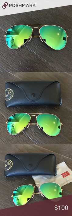 Ray bans flash lens Authentic! Worn once. Like new condition. Matte gold frame with green mirror lens Ray-Ban Accessories Sunglasses