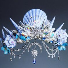 The Ice Blue Moon Crown - Mermaid Crown - Shell Crown - Crystal Crown - hen party - bachelorette - festival crown - made to order Sea Crown, Gold Crown, Mermaid Shell, Mermaid Crown, Seashell Crown, Shell Crowns, Mermaid Outfit, Crystal Crown, Crown Headband