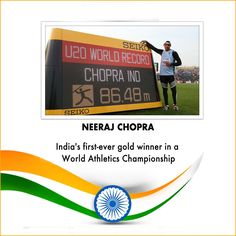 #NeerajChopra wins gold medal in Javelin throw at World Championships in Poland.