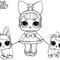 LOL Coloring Pages Sugar with two pet dolls - Free Printable Coloring Pages Ninjago Coloring Pages, Elsa Coloring Pages, Shopkins Colouring Pages, Lego Coloring, Barbie Coloring Pages, Coloring Sheets For Kids, Free Printable Coloring Pages, Coloring Books, New Animation Movies