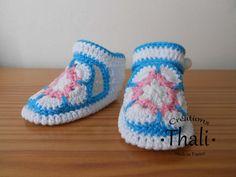 Les chaussons en granny African Flower