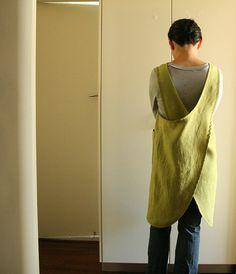 WOMENS LINEN PINAFORE / cross back / linen smock / linen dress / mustard / apron / full apron / etsy australia / linen clothing / pamelatang