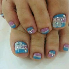 Pink  Blue Toe nails