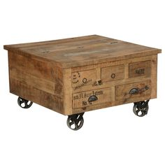 ive your home decor a touch of industry with the Industrial Style Solid Wood Square Storage Trunk 5 Drawer Coffee Table. This solid wood storage trunk can be used as a coffee table at the same time ad Rustic Coffee Tables, Diy Coffee Table, Coffee Table With Storage, Storage Trunk, Table Storage, Wood Storage, Storage Area, Storage Chest, Diy Wood Box