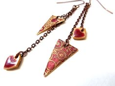 Geometric Mixed Metal and Ceramic Dangle by ChelseaGirlDesigns