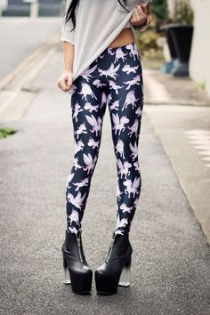Unicorn Black Leggings by Black Milk Clothing