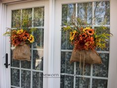 such a great idea instead of fall wreaths hanging everywhere!