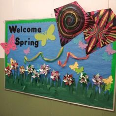 Spring Bulletin Board Ideas for Preschool - Preschool and Kindergarten Kindergarten Bulletin Boards, Preschool Classroom Decor, Spring Bulletin Boards, Classroom Bulletin Boards, Preschool Activities, Classroom Ideas, Reading Projects, Display Lettering, Spring Theme