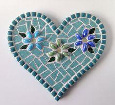 "Blue Heart Mosaic, Heart in Bloom Mosaic Heart in teal, 8"" Heart Mosaic Wall Plaque"