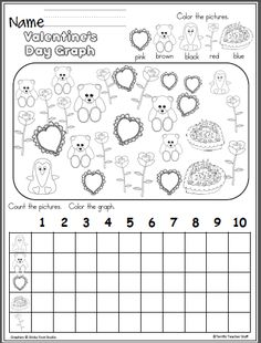 Free Valentine's Day graphing activity that is fun and time consuming. Students color the candy hearts and complete the graph. Great activity for learning color words, numbers up to and graphing. Graphing Activities, Kindergarten Math Worksheets, Letter Worksheets, Printable Worksheets, Printables, Valentine Theme, Valentine Crafts, Valentine's Day Letter, Letter Writing
