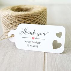 Personalised Wedding Tags  Thank You Tag  Customised Name