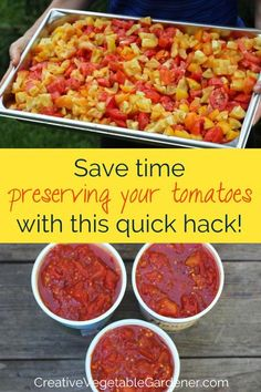 Use this method for preserving tomatoes and save time, energy, and money. Includes a short step-by-step bonus video shot in my garden and kitchen! #gardening #vegetablegarden #preserving #tomatoes Real Food Recipes, Great Recipes, Cooking Recipes, Preserving Tomatoes, Spicy Pickles, Food Cost, Kitchen Gardening, Fruits And Veggies, Vegetables