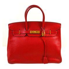 Hermes Rouge Vif (Red) Togo Birkin Handbag