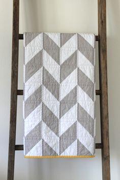 https://flic.kr/p/e2KtBG   grey and white herringbone baby quilt.   custom.
