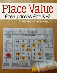 for place value games for kids in Print these free games to give your child practice counting hundreds, tens, and ones.Looking for place value games for kids in Print these free games to give your child practice counting hundreds, tens, and ones. Math Games For Kids, Kindergarten Games, Grade 2 Math Games, Learning Games, Math Place Value, Place Values, Math Resources, Math Activities, Place Value Activities