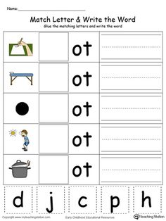OT Word Family Match Letter and Write the Word in Color