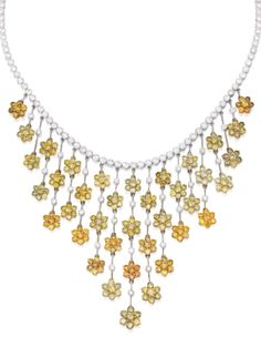 18 Karat Two-Color Gold, Diamond and Colored Diamond Necklace   Lot   Sotheby's