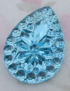 Vintage aqua blue foiled pressed glass flower tear cabochon 25x18mm - f2819