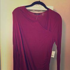 Red long sleeve top Tahari dark red long sleeve top with beautiful .  Size large, NWT. Tahari Tops Tees - Long Sleeve