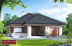 Projekt domu Selene IV, wizualizacja 1 House Layout Plans, Dream House Plans, House Layouts, House Front Design, Roof Design, Modern Exterior House Designs, Exterior Design, Conception Villa, Affordable House Plans