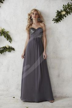 Christina Wu Occasions 22687 Appeal to your modern side with this full-length chiffon bridesmaid gown featuring a two-tone criss-cross of sequins and chiffon on the strapless sweetheart bodice. Bridesmaid Dresses, Prom Dresses, Formal Dresses, Reception Dresses, Grey Bridesmaids, Pageant Gowns, Bride Dresses, Formal Wear, Christina Wu
