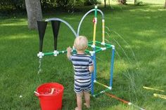 If you or the kids enjoy playing with Tinker Toys, you will love playing with these sprinkler parts. Everything can be found at you local hardware store for hours of. Sprinkler Parts, Kids Sprinkler, Water Sprinkler, Water Toys, Water Play, Tinker Toys, Pvc Projects, Splash Pad, Backyard For Kids