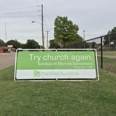 The Vine Church (Enid OK) meets in an elem school. Outdoor signage is the best way to attract the attention of the community, commuters, teachers and parents in this area near the school. Great way to promote the ministries at THEVINECHURCH. Church Signs, Church Banners, Vine Church, Church Lobby, Church Outreach, Sunday School Rooms, Prayer Garden, Church Graphic Design, Outdoor Signage
