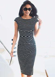 Jersey Dress Love the stripes @ the waist