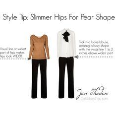 """""""Style Tip: Slimmer Hips For A Pear Shaped Body"""" by Jen Thoden on Polyvore http://outfitideas4you.com"""