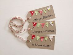 Christmas Bunting Tags stamped and sewn set 3 by littleolly