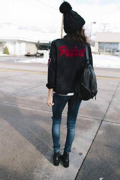 Be Mine perfect varsity jacket Hello Fashion Blog, All Fashion, Paris Fashion, Spring Fashion, Womens Fashion, Baseball T Shirts, Komplette Outfits, Winter Outfits, Varsity Jacket Outfit