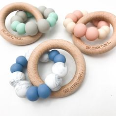 DUO Silicone and Beech Wood Teether. Engrave with baby's name for an extra special touch. www.onechewthree.com.au