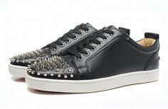 Mens Christian Louboutin D Black Silver Spike