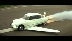Rocket Powered Flying 1957 Citroen DS, From the Movie: All Our Memes Are Belong to Fantômas Citroen Ds, Psa Peugeot Citroen, Automobile, Rocket Power, Picture Writing Prompts, Writing Ideas, Miniature Cars, Power Cars, Pony Car