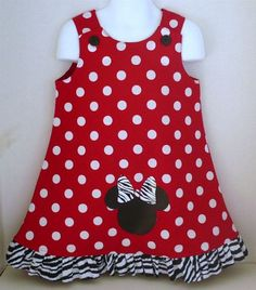 zebra Minnie Mouse jumper ruffle Mickey Disney dress toddler infant baby clubhouse polka dot party birthday red black: