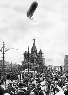 Dirigible Over St. Basil's Cathedral, Red Square, Moscow (1921)