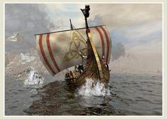 Viking drakkar with Celtic design Viking Life, Viking Warrior, Viking Longboat, Viking Books, Germanic Tribes, Viking Culture, Legends And Myths, Viking Ship, Norse Vikings