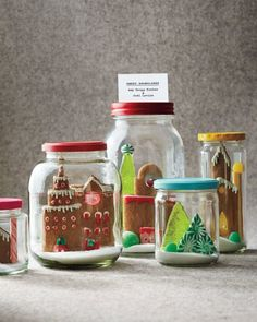 Super Make It's Cookie Snow Globes in Martha Stewart Living  - recycled jars