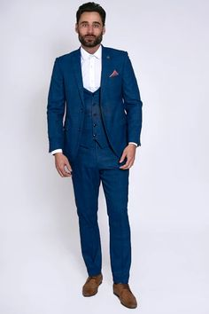 Click here to discover our collection of Men's 3 Piece Suits. Browse our vintage inspired designs in a variety of prints, colours & materials. Shop today! Mens 3 Piece Suits, Three Piece Suit, Mens Suits, Classic Blue Suit, Classic Blues, Blue Check Suit, Childrens Shop, Checked Suit, Suit Shop