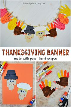 Invite kids to create a paper Thanksgiving banner made with hand shaped leaves, turkeys and pilgrims to decorate your home for Thanksgiving holidays! Thanksgiving Arts And Crafts, Thanksgiving Activities For Kids, Thanksgiving Banner, Thanksgiving Traditions, Fall Crafts, Halloween Crafts, Christmas Crafts, Thanksgiving Nails, Christmas Tables