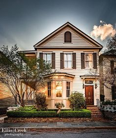 The sunset in Charleston was beautiful last night. This King Street home caught my eye.